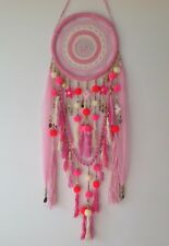 Crochet Dream Catcher - Shades of Pink & Cream with Gold Beads & Trinkets