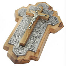 Wall Cross of Olive Wood with 14 Stations of Jesus in Jerusalem Via Dolorosa