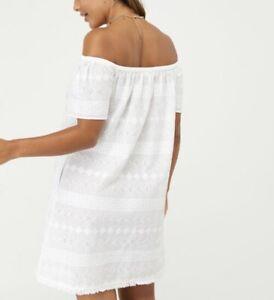 Accessorize Schiffli Bardot Dress in Pure Cotton White Size Small 8-10 New+tags