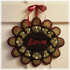 My Christmas Wish*~Love & Peace Penny Rug/Wall/Table Mat~*PATTERN*~