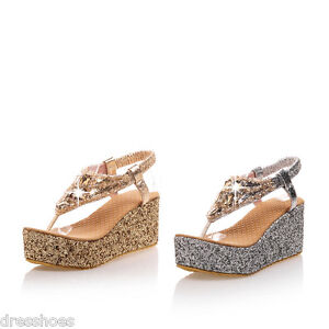 Women's Glitter Wedge Heel Platform Sandals Flip-Flop Slingback Shoes AU Sz 2~14