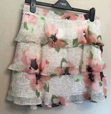 Marks & Spencer Limited Edition UK12 EU40 US8 ivory mix floral chiffon skirt