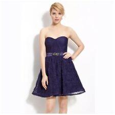 Adrianna Papell Purple Pleat Bodice Rosette Tulle Prom Dress Size 12