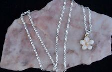 White Enamel Peach Blossom Flower, 925 Silver Plated Chain Necklace. Handmade