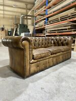 A Very Very Good MidC Vintage Coil Sprung Leather Chesterfield Sofa