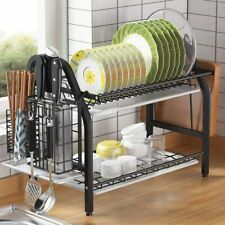 New listing Dish Drying Rack, 1Easylife 2 Tier Dish Rack Stainless Steel with Utensil Knife