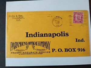 Indiana: Frankfort 1930 Paramount Optical Company Return Advertising Cover