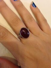 Antique Rare Victorian Marked Sterling Carnelian Gemstone Ring Size 8