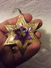 OLD GERMAN DRESDEN And CELLOPHANE STAR CHRISTMAS ORNAMENT