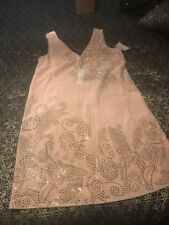 $398 TRINA TURK  Studded  Dress Peach Cream 4