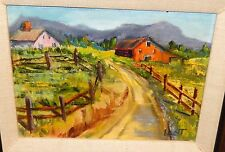 """B.LENT """"MID-WEST FARM HOME"""" ORIGINAL OIL ON BOARD PAINTING"""
