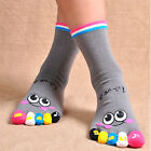 Women Lady Girls Cute Cartoon Five Fingers Trainer Toe Ankle Yoga Sport Socks