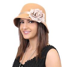 BEIGE 1920'S CLOCHE HAT WITH FLOWER ACCESSORY GATSBY FANCY DRESS FLAPPER 30'S