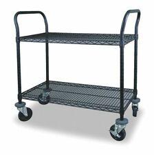 Zoro Select 2Hdn7 Wire Cart,2 Shelf,48X18x39,Black