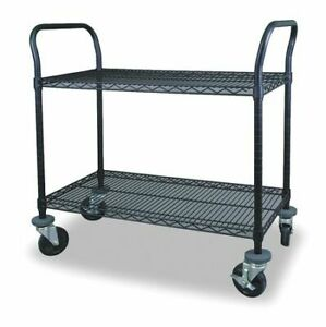 Zoro Select 2Hdn7 Wire Cart,2 Shelf,48X18x39,Black