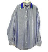 Polo Ralph Lauren Blue White Stripe Purple Collared Long Sleeve Size Large RARE