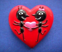Hallmark PIN Valentines Vintage ANTS HEART Black ANTHROPOMORPHIC Holiday Brooch