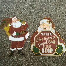 2 Christmas Santa Plastic Suncatcher Window Ornament