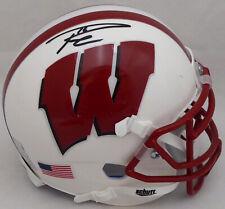Russell Wilson Autographed Schutt Wisconsin White Mini Helmet In Black RW 38248