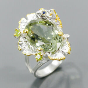 19x12mm Vintage SET Green Amethyst Ring Silver 925 Sterling  Size 7.75 /R177945