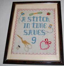 Vintage Cross Stitch Sampler A Stitch In Time Saves 9 Sewing Thread Bobbin Art