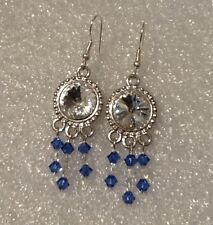 Swarovski crystal Rivoli stone earrings  strictly handmade new silver hook