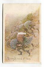 Cynicus - Through Wind & Rain, people & umbrellas - 1904 used comic postcard