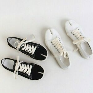 Womens Tabi Split Toe Canvas Sneakers Trainer Lace Up White Black