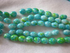 50 Blue/Green 7x6mm Oval Opaque Glass Beads #g817 (Combine Post-See Listing)