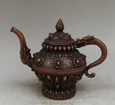 China delicate Old Red copper Hand-carved Dragon Teapot