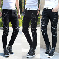 Mens Skinny Slim Stage Pants Stylish Jeans Pencil Denim Punk Clubwear Trousers