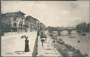 1911 TORINO LUNGO PO cartolina viaggiata animata