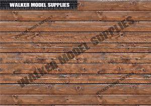 1:6 scale (3xA4) wood wall - Peel and Apply sticker/ diorama model 2