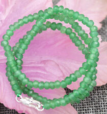 "2x4mm Faceted Myanmar Natural Emerald Abacus Gems Necklace 18"" Silver Clasp"