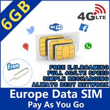 Europe Prepaid Sim Card 6GB data with 4G / LTE speed Europe holiday trip 6GB