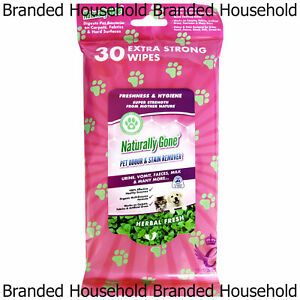 30 x NATURALLY GONE PET ODOUR & STAIN REMOVER EXTRA STRONG WIPES CARPET FABRIC