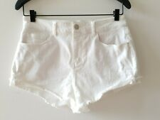 Seafolly Women's Shorts White Stretch Denim Cut Off Beach Boho Bright Size S