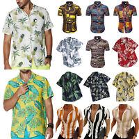 Men Hawaii Floral Print Short Sleeve Boho Shirts Summer Beach T-shirt Blouse Top