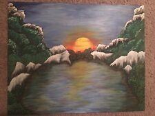 Mountains Sunset Canvas Panel Artwork
