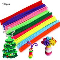 100pc Chenille Craft Kids Educational Toy Twist Rods Hair Root Stem Pipe Cleaner
