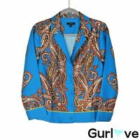 J. Crew SP20 Size XS Women's Top Blue Paisley Drapey Button Up Blouse