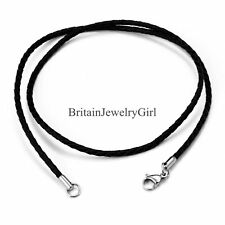 2mm Wide Unisex Twisted Braided Rope Black Leather Cord Chain Necklace W Clasp