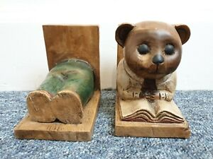 Old ugly Wooden Teddy Bear Bookends Quirky Cute Country vintage