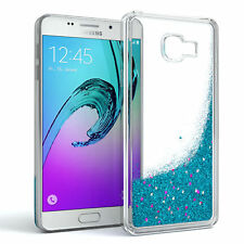 Schutz Hülle f. Samsung Galaxy A3 (2016) Liquid Glitzer Cover Handy Case Blau