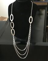 """Silpada Sterling Silver Chain Link 32"""" Long Necklace N1720 Hammered Oval Strands"""