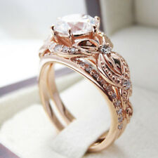 Antique Women 18K Rose Gold White Topaz Floral Ring Set Wedding Jewelry Sz 6-10
