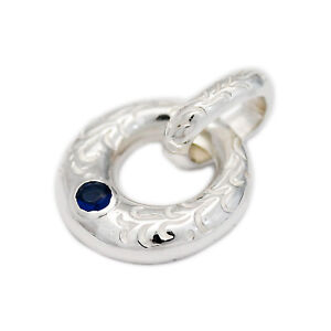 BLUE SAPPHIRE ENGRAVED 925 STERLING SILVER FINE JEWELRY PENDANT won-002