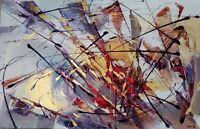 """Grande abstraction """"Tache et tiret 48 """" acrylique sur toile"""