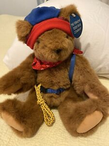 THE  Vermont Teddy Bear Company Brown Bear Hat Backpack Bandanna Rope 1998