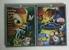 Bambi & Beauty and the Beast Diamond Edition Blurays + DVDs Disney w/Slipcovers